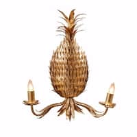 Beautifully Sculpted Iron Pineapple Wall Sconce, Gold