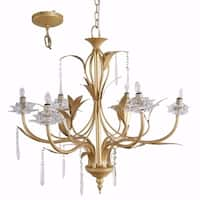 Glamorous Nature Inspired 6- Light Chandelier, Gold and Clear - gold and clear