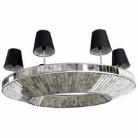 Unique Glass and MDF 6-light Chandelier, Silver and Black