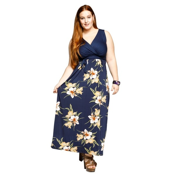 050ce130d053 Shop Xehar Womens Plus Size Sexy Sleeveless Floral Wrap Long Maxi ...