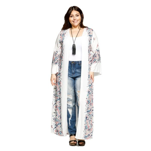 dd13cb293 Xehar Womens Plus Size Open Front Loose Long Floral Kimono Cardigan