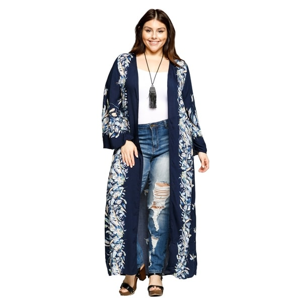 e1563523bb1 Shop Xehar Womens Plus Size Open Front Loose Long Floral Kimono ...