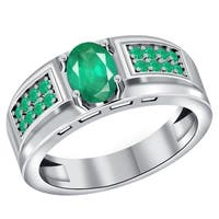 Orchid Jewelry 925 Sterling Silver 1.15 Carat Emerald Men's Halo Ring