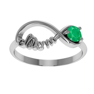 Orchid Jewelry Sterling Silver 0.27 Carat Emerald Infinity Mom Collection Ring (4 options available)