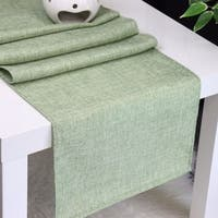 Aiking Home Natural Faux Linen Unlined Table Runner-Size 12''x 62'' Moss