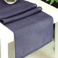 Aiking Home Natural Faux Linen Unlined Table Runner-Size 12''x 62'' Navy