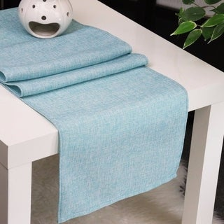 Aiking Home Natural Faux Linen Unlined Table Runner-Size 12''x 62'' Aqua