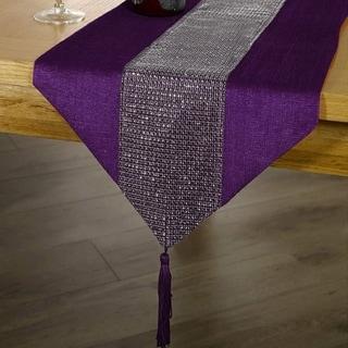 Merveilleux Tassel Table Runner Rhinestone European Dinner 12 X 72 Purple