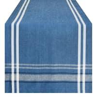 Cotton French Stripe Kitchen Table Runner Blue 14 x 108