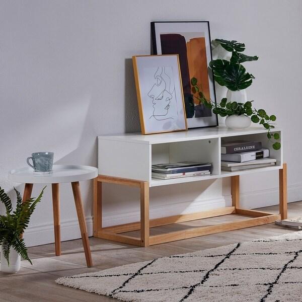 Versanora - Creativo Stylish TV Stand - White/Natural