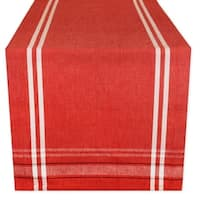 Cotton French Stripe Kitchen Table Runner Red 14 x 108