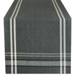 Cotton French Stripe Kitchen Table Runner Gray 14 x 108