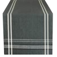 Cotton French Stripe Kitchen Table Runner Gray 14 x 108