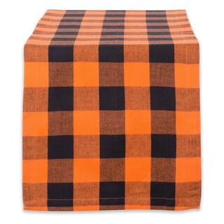 "14x72"" Cotton Table Runner, Orange & Black Buffalo Check Plaid"