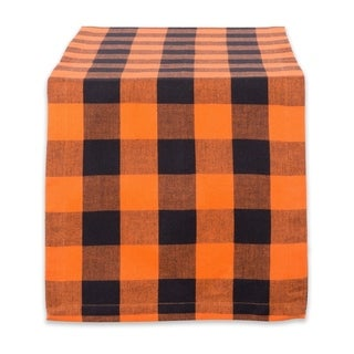 "14x108"" Cotton Table Runner, Orange & Black Buffalo Check Plaid"