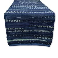 "Cotton Chindi Rag Table Runner, 14 X 72"" Blue"