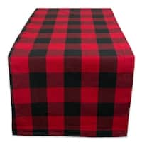 "14x72"" Cotton Table Runner, Red and Black Buffalo Check"
