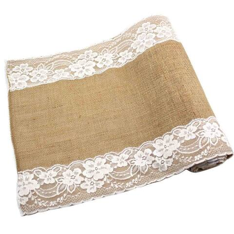 Burlap Lace Hessian Table Runner 12 x 108 Color A