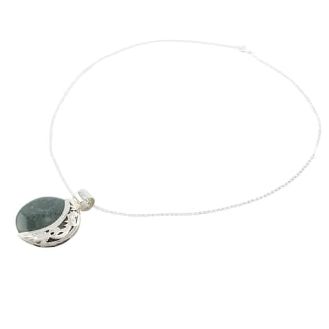 Handmade Jade Quetzal Eclipse Sterling Silver Necklace (Guatemala)