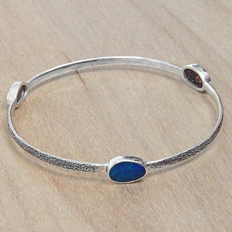 Handmade Sterling Silver 'Blue Expanse' Opal Bracelet (Indonesia)