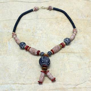 Handmade Ceramic Sese Wood 'Zaara' Necklace (Ghana)
