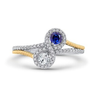10K Two-Tone Gold 1/10ct TDW Diamond and 5/8ct TDW Blue Sapphire Fashion Ring (G-H, I2-I3)