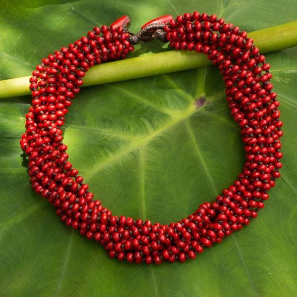 NOVICA Handmade Littleleaf Wood 'Bangkok Belle' Necklace (Thailand). Opens flyout.