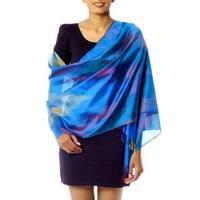 Handmade Varanasi Silk 'Blue Whisper' Shawl (India)