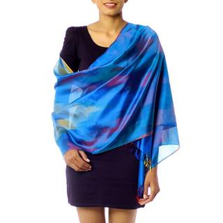 Handmade Varanasi Silk 'Blue Whisper' Shawl (India)