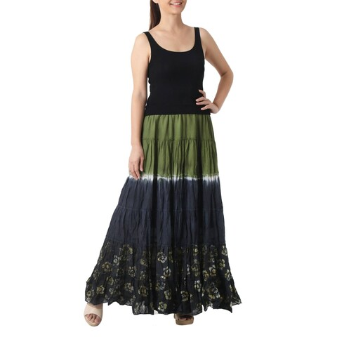 Handmade Cotton 'Festive Summer in Olive' Batik Skirt (Thailand)
