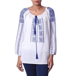 Handmade Cotton 'Eternal Love' Embroidered Tunic (India)