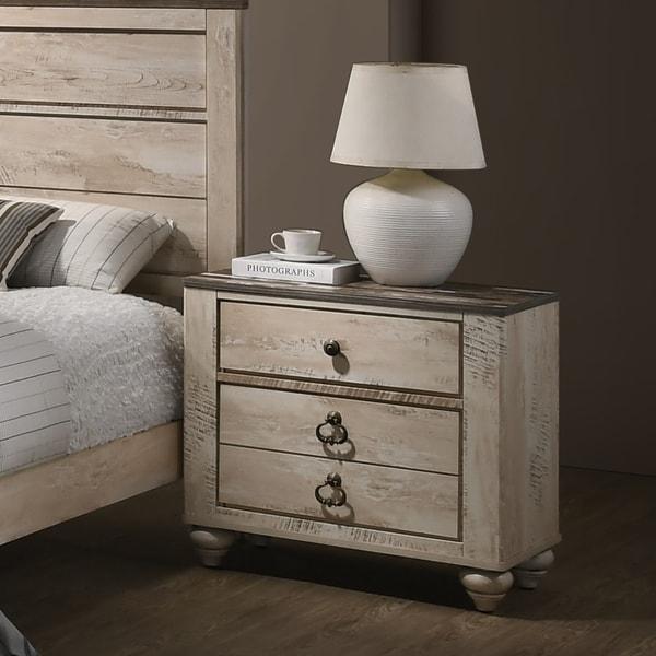 Imerland Contemporary White Wash Finish 3-drawer Nightstand