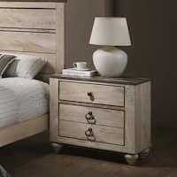 Imerland Contemporary White Wash Finish 2-drawer Nightstand