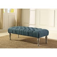 Tallenn Fabric Upholstery Button Tufted Turned Leg Bench