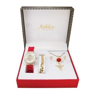 Ladies Watch 4 Piece Gift Set -1412/8229-AG Ruby Red