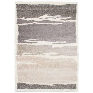 eCarpetGalley Soho Cream and Dark Grey Shag Rug (6'7 x 9'7)
