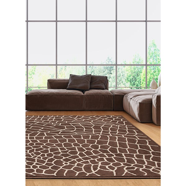 eCarpetGallery Contemporary Brown/Cream Handmade Area Rug - 7' 10 x 10 '0