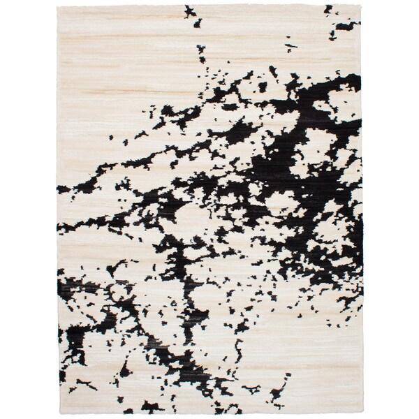 eCarpetGallery Soho Cream/Black/Ivory Shag Rug (7'9 x 10'11)