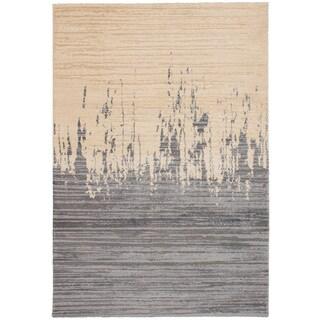 eCarpetGalley Soho Dark Grey, Ivory Polypropylene Shag - 6'7 x 9'7