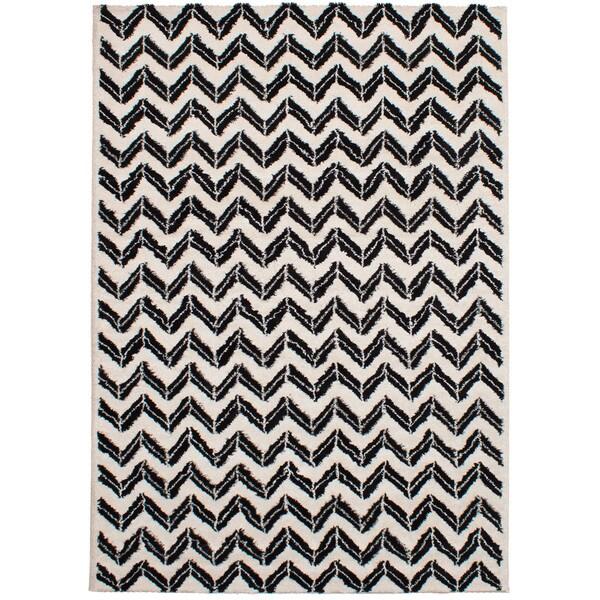 eCarpetGalley Soho Black, Cream Polypropylene Shag - 6'7 x 9'6