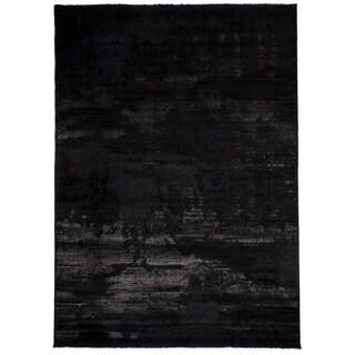 eCarpetGalley Soho Black Polypropylene Shag 7'9 x 10'11