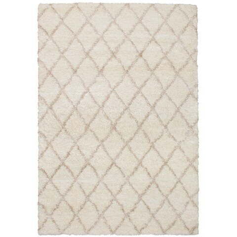 eCarpetGalley Soho Diamante Cream Polypropylene Shag - 6'7 x 9'6