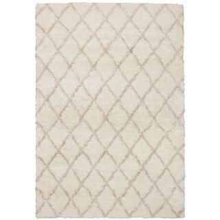 eCarpetGalley Soho Diamante Cream Polypropylene Shag 6'7 x 9'6