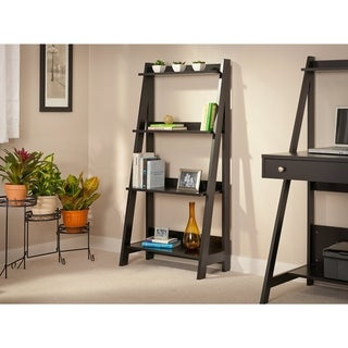 Porch & Den Blomfield Ladder Bookshelf in Classic Black