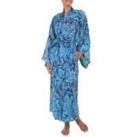 Handmade Rayon 'Sapphire Dreams' Batik Robe (Indonesia)