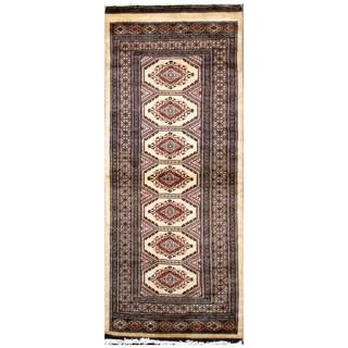 Handmade Herat Oriental Pakistani Hand-Knotted Tribal Bokhara Wool Runner (2'7 x 5'9)