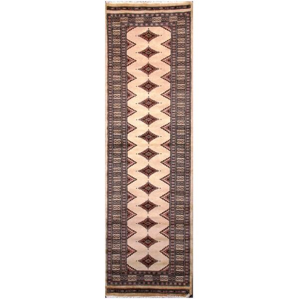 Handmade Herat Oriental Pakistani Hand-Knotted Tribal Bokhara Wool Runner (Pakistan) - 2'5 x 8'1