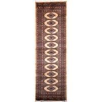 Handmade Herat Oriental Pakistani Hand-Knotted Tribal Bokhara Wool Runner - 2'8 x 8'6