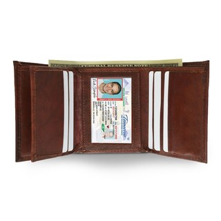 AFONiE Soft Tri-Fold Leather Wallet For Men (Option: Red)