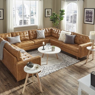 Odin Caramel Leather Gel U-Shape Sectional by iNSPIRE Q Modern